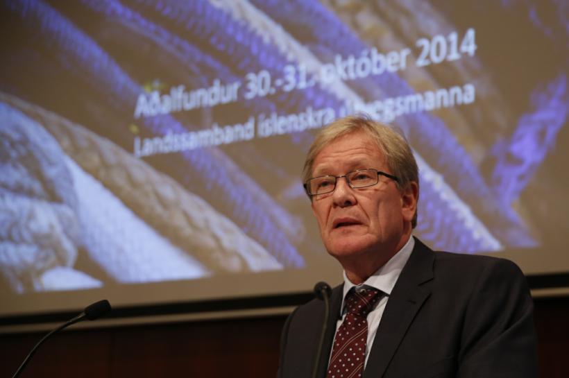 Adolf Guðmundsson, formaður LÍÚ, á síðasta aðalfundi félagsins í dag.