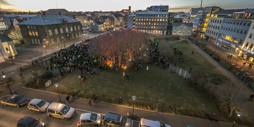 Austurvöllur Square in Reykjavik is a common venue for protests ...