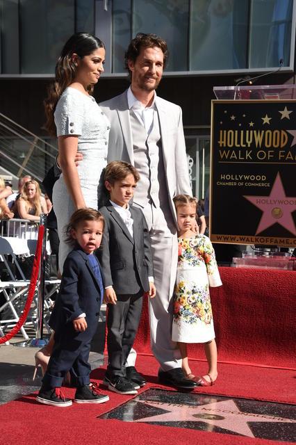 Matthew McConaughey með fjölskyldu sinni.