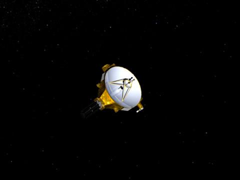 Teikning listamanns af könnunarfarinu New Horizons sem nálgast nú Plútó ...
