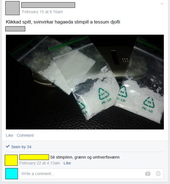 Myndir af fíkniefnum á samskiptamiðlum.