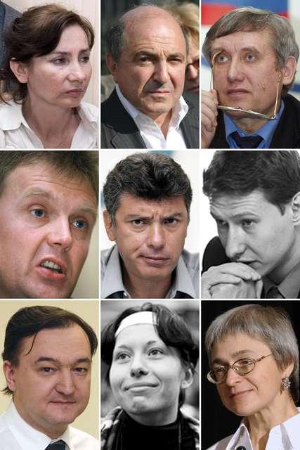 Samsétt ljósmynd sem sýnir mannréttindafrömuðinn Natalia Estemirova, auðjöfurinn Boris Berezovsky, ...