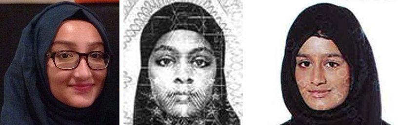 Shamima Begum, til hægri, ásamt þeim Kadiza Sultana (t.v.) og ...