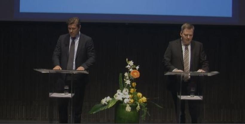 Bjarni Benediktsson og Sigmundur Davíð Gunnlaugsson á fundinum í Hörpu.