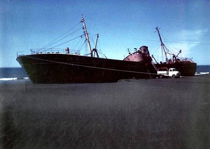 Togarinn strandaði 5. september 1968. Áhöfninni, 23 sjómönnum, var bjargað …