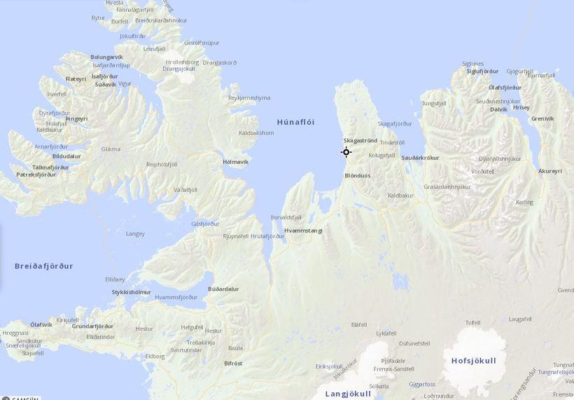 Staðsetning fyrirhugaðs álvers í Skagabyggð.