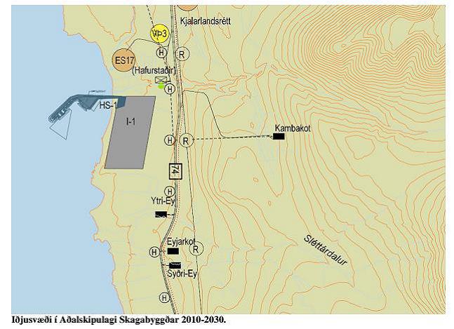 Fyrirhuguð uppbygging álversins við Hafursstaði.