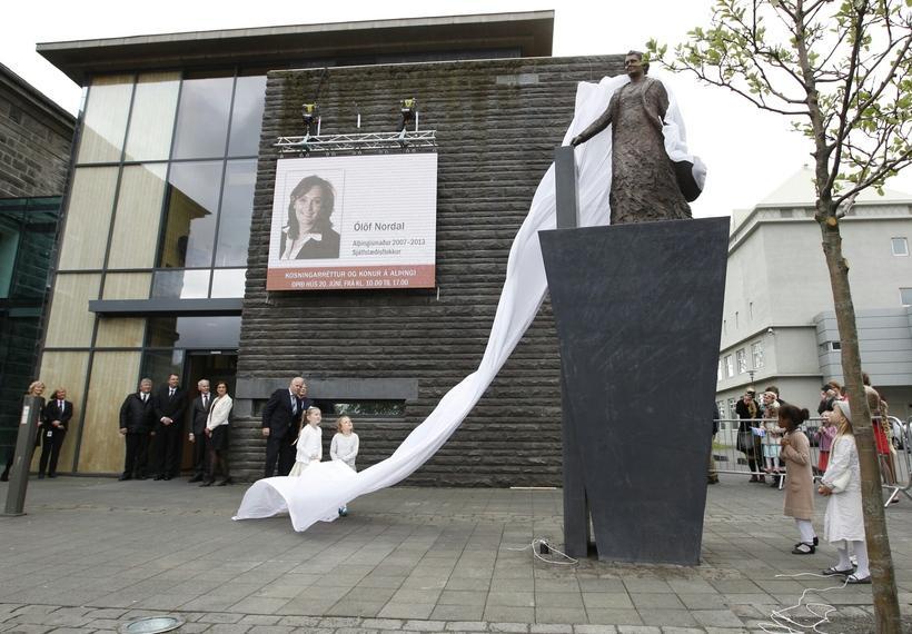 A statue of Ingibjörg H. Bjarnason, Iceland's first ever MP, ...