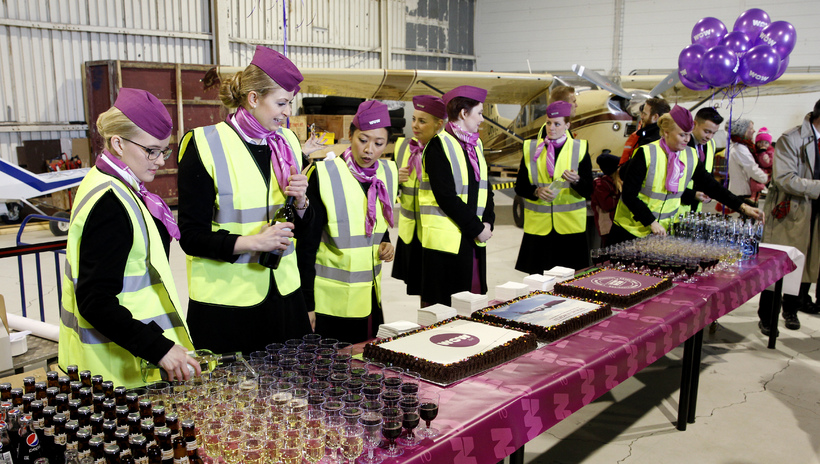 WOWair laid on drinks and refreshments in a nearby hangar.
