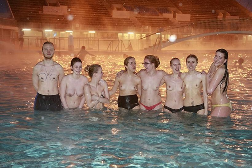 Women gathered for a topless swim in Laugardalslaug pool. The ...