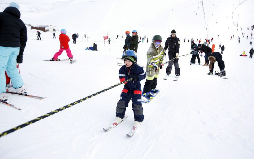 Skiing is a popular winter sport in Iceland.