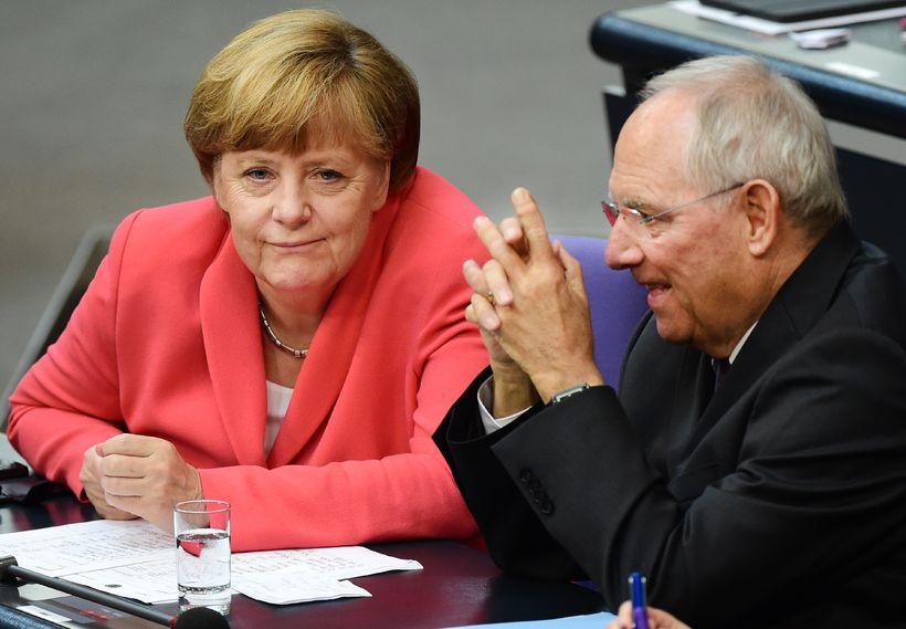 Angela Merkel kanslari og Wolfgang Schable, fjármálaráðherra Grikklands.