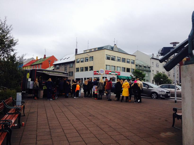 The queue at Don's Donuts on Saturday.