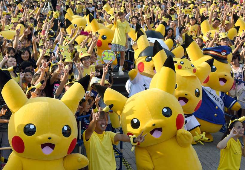 Frá Pikachu-hátíð sem haldin er í Yokohama-hverfinu í Tokýo.