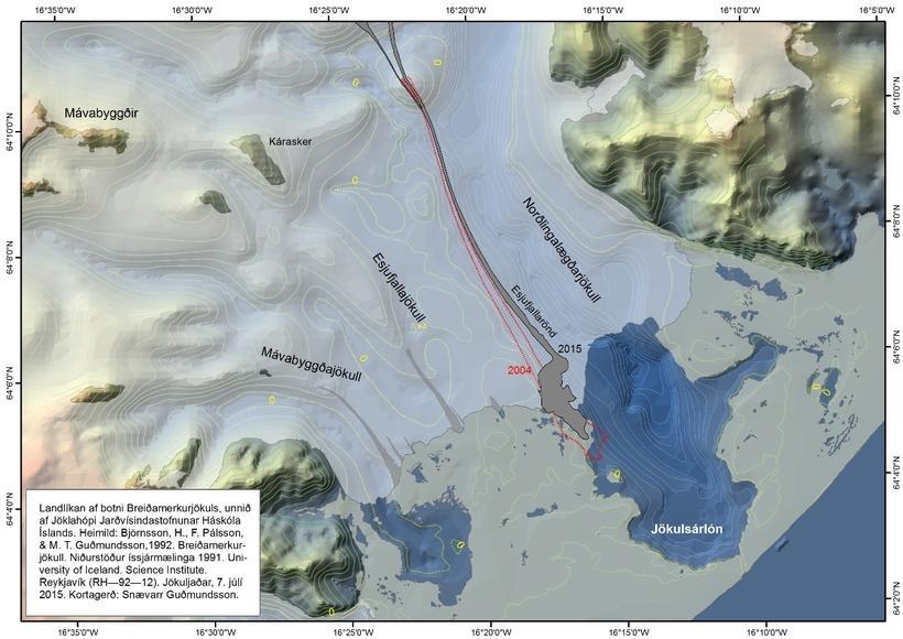 The red lines show where Esjufjallarönd was in 2004. It ...