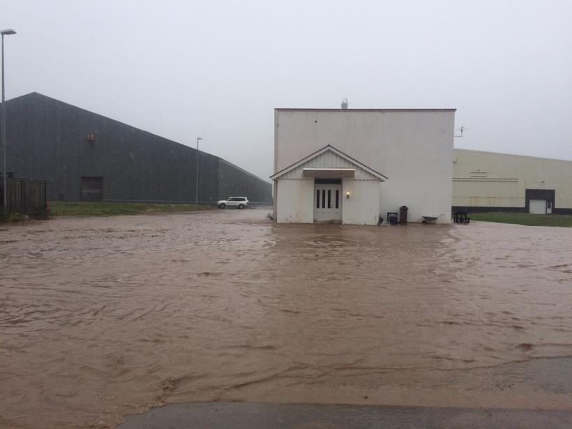 Localised flooding caused damage to houses.