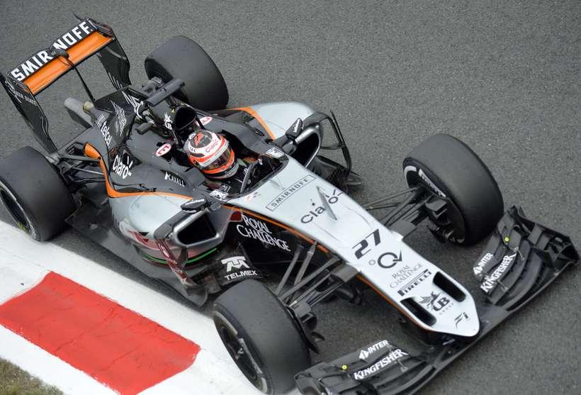 Nico Hülkenberg á Force India bíl í Monza.
