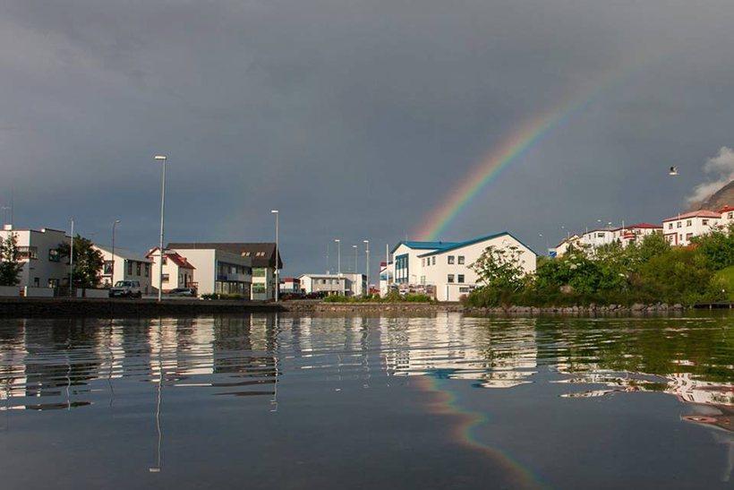 Rainbow over Tjarnarborg.
