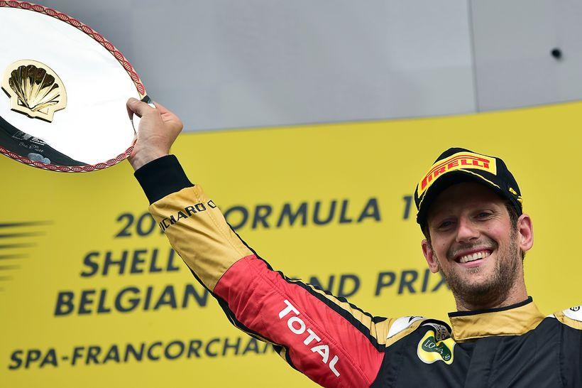 Romain Grosjean varð þriðji í belgíska kappakstrinum í Spa 23. ...