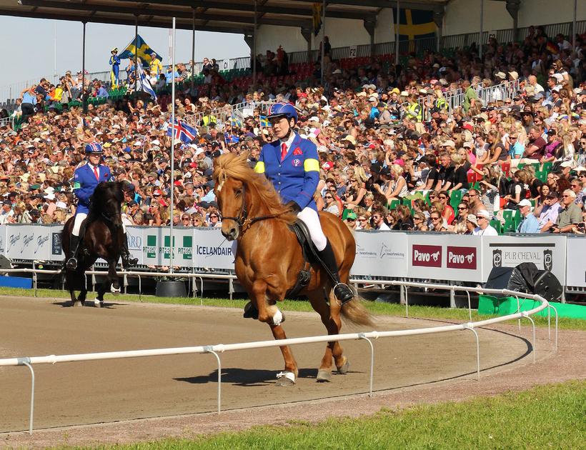 Kristín on her winning horse, Þokki.