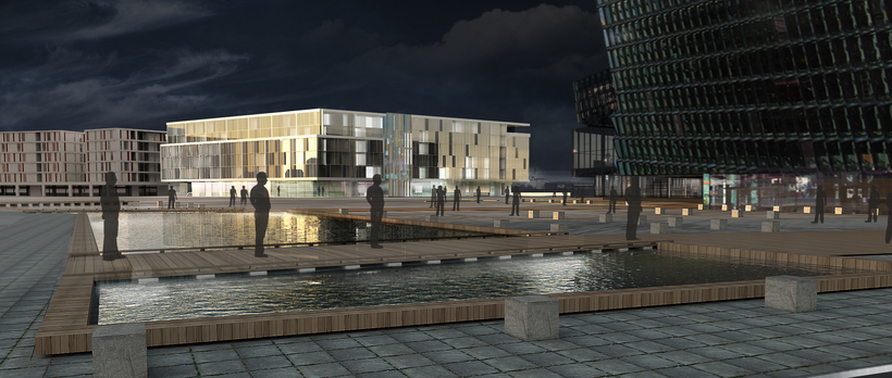 A drawing of the hotel with Harpa on the right ...