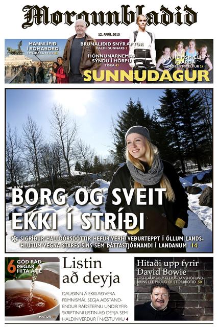 Forsíða Sunnudagsblaðsins í dag.