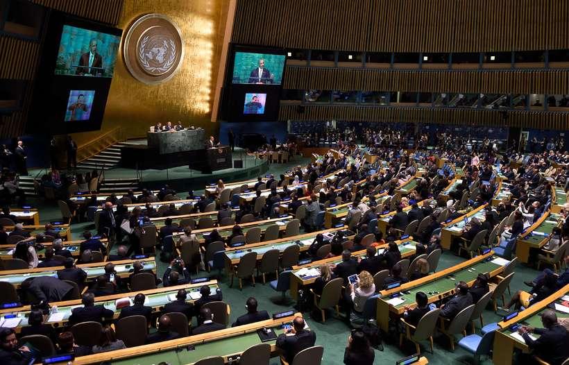 US President Barack Obama addresses the UN Sustainable Development Summit.