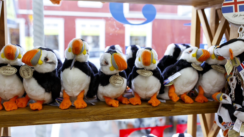 Plush puffins at a Reykjavik tourist store.