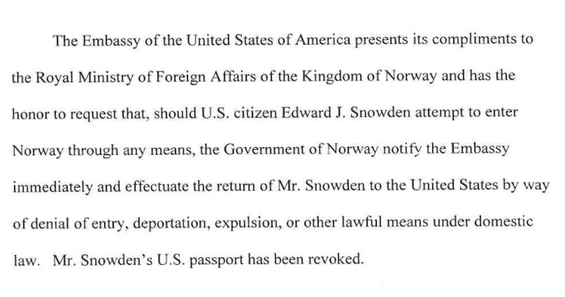 Extract from US communiqué to Norway dated 27 June 2013.