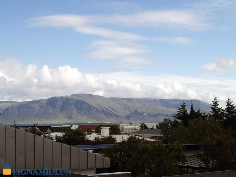 The house boasts great views of Mount Esja.