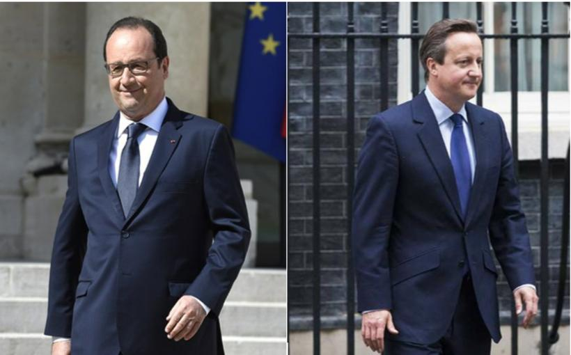 President Hollande (left) and PM Camerion (right).