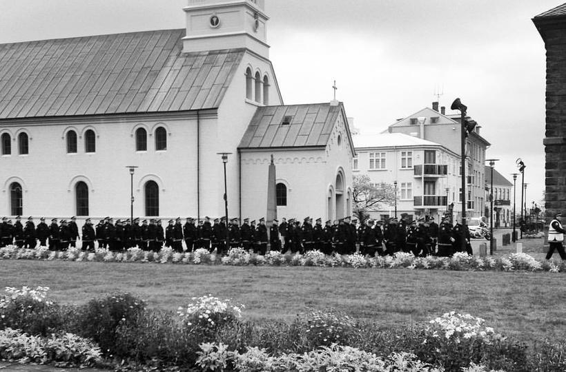 Police officers of Reykjavik's Parliament Square.