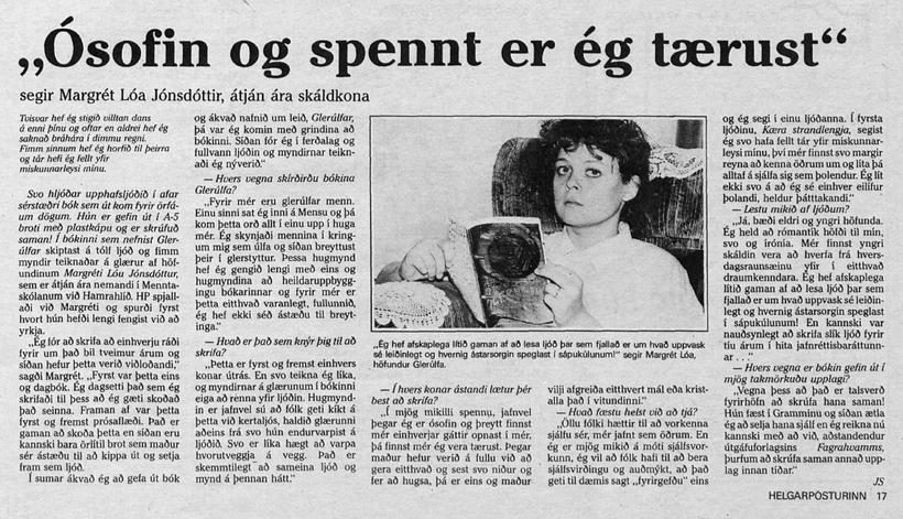 Úr viðtali í Helgarpóstinum 17. okt 1985 þegar fyrsta ljóðabókin …