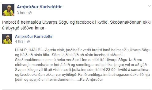 Skjáskot af opinni færslu Arnþrúðar Karlsdóttur