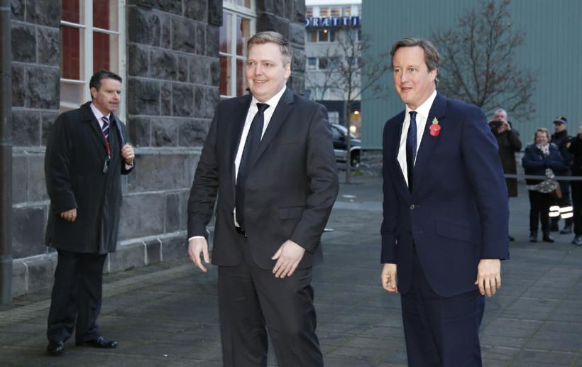 Sigmundur Davíð Gunnlaugsson tekur á móti David Cameron.