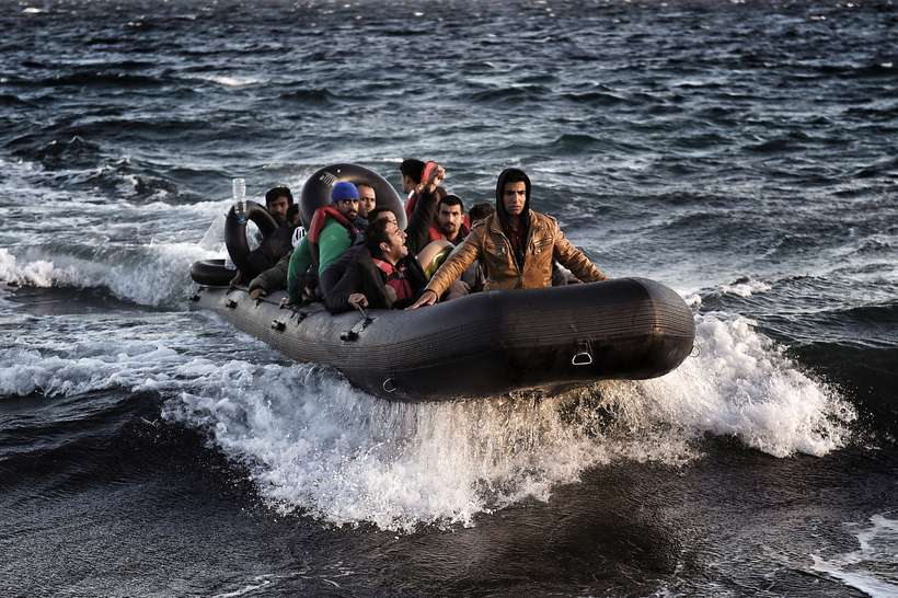 Refugees arriving in Greece.