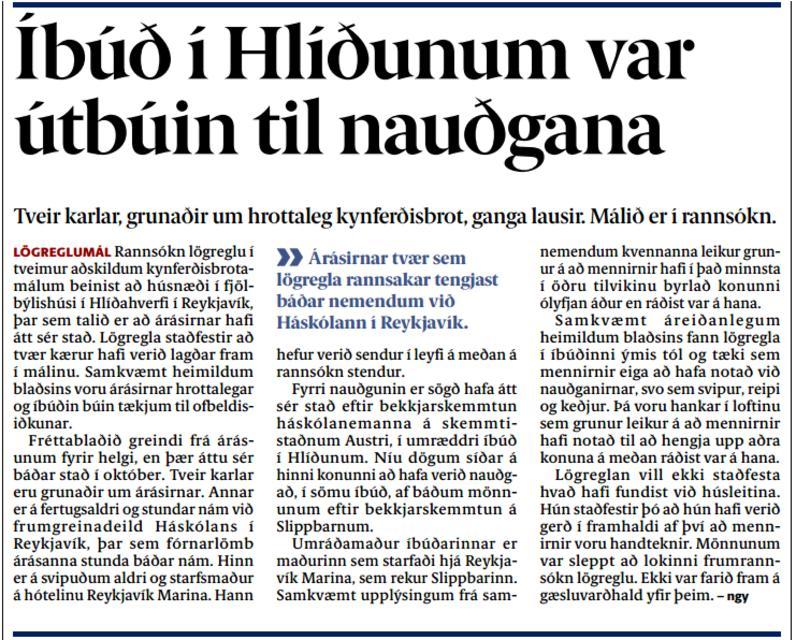 Frétt Fréttablaðsins frá því í gær (9.11.2015).