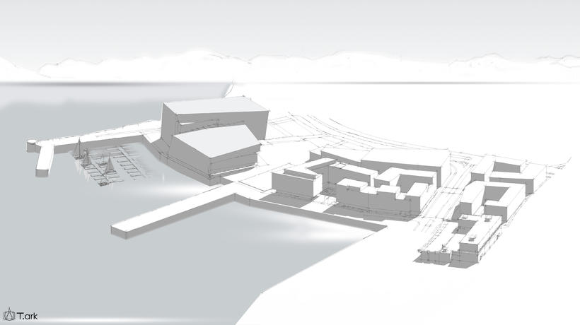 A drawing of Austurhöfn harbour with the hotel next to ...