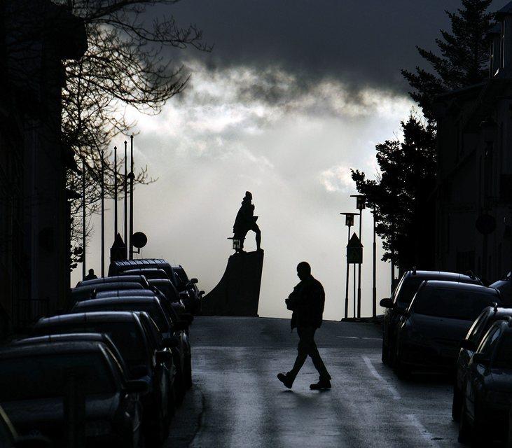 A statue of Leifur Eiríksson dominating the Reykjavik skyline.