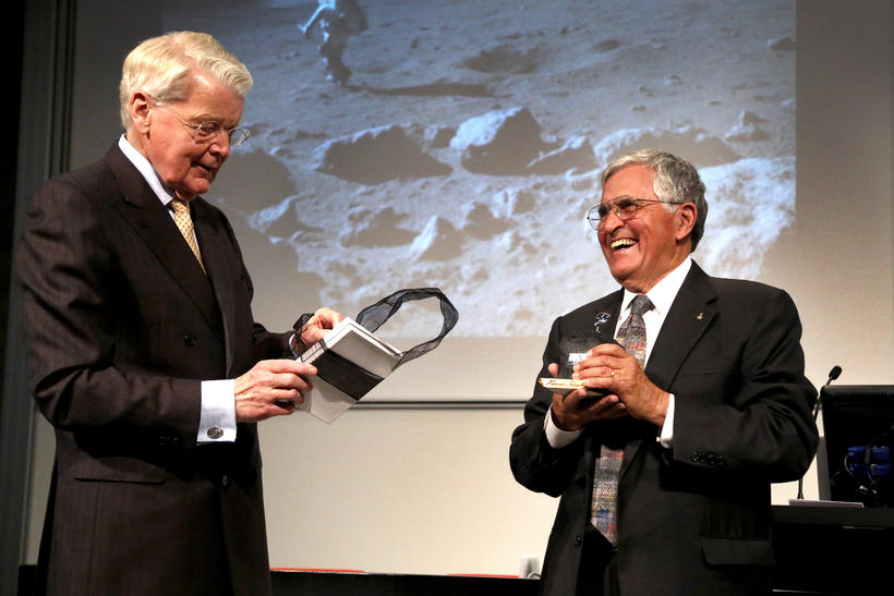 Harrison Schmitt receiving his award from the President of Iceland.