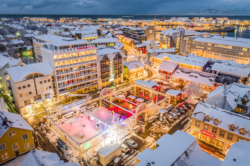 An aerial view of Ingólfstorg square, showing the temporary ice …