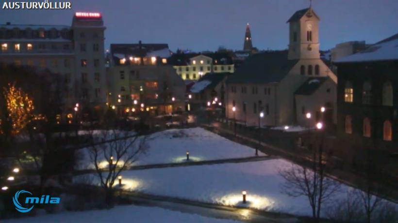 A screenshot from the Míla webcam at Austurvöllur, parliament square …