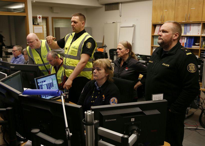 The team at the Civil Defence in Skógarhlíð, Reykjavik. The ...