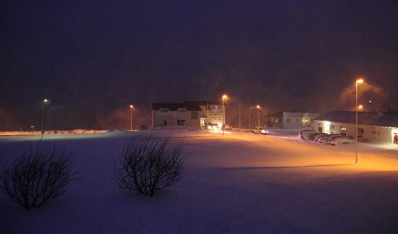 Storm rages in Patreksfjörður.