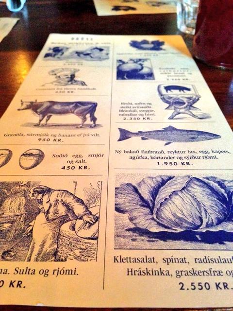 The brunch menu at Hverfisgata 12.