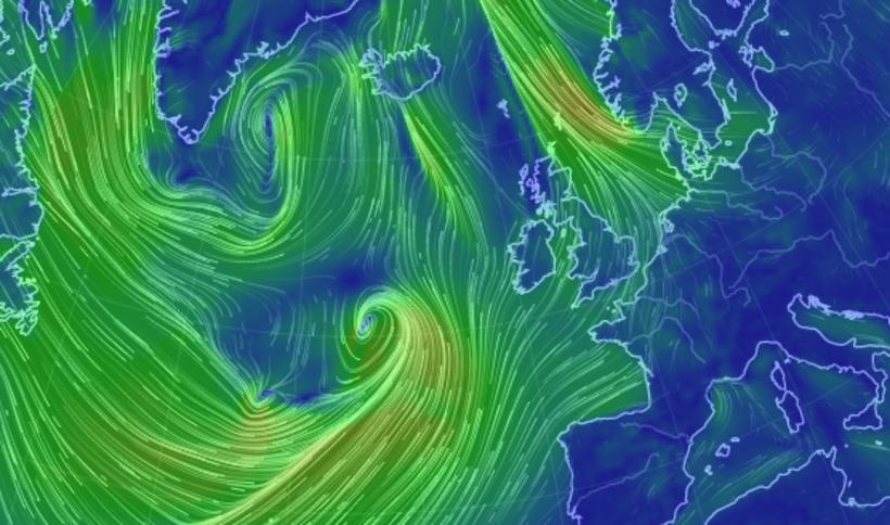 The area of low pressure approaching Iceland from the south.