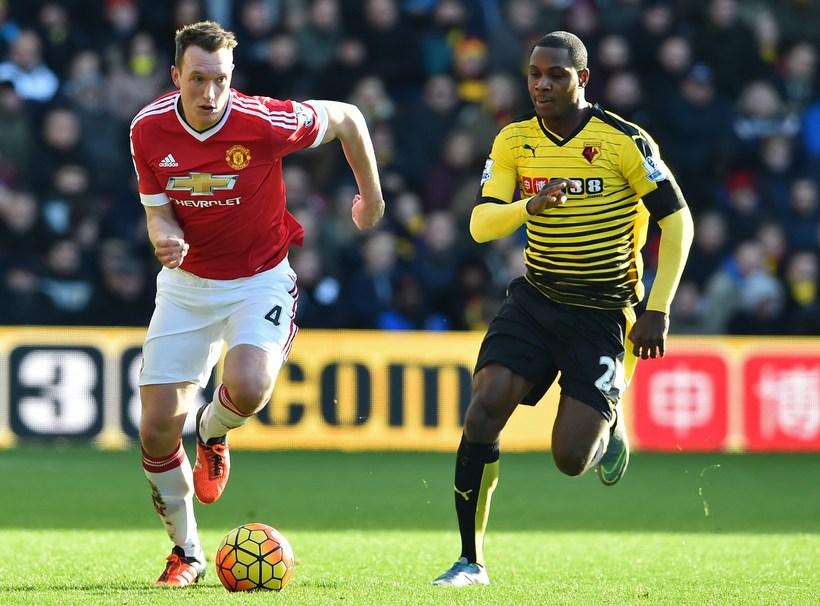 Phil Jones í leik með Manchester United.