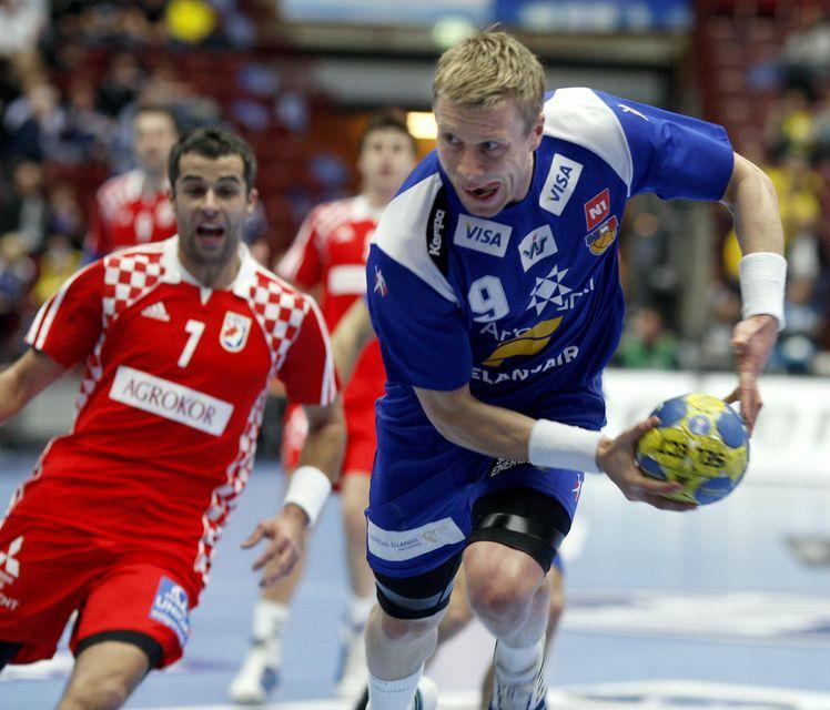 Guðjón Valur Sigurðsson í leik gegn Króötum árið 2011.