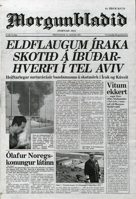 Forsíða Morgunblaðsins 18. janúar 1991.