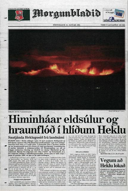 Baksíða Morgunblaðsins 18. janúar 1991.